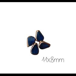 10 perles goutte en verre bleu et or 11x8mm