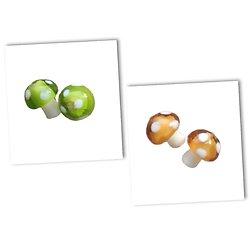 Perle champignon indienne artisanale en verre 14x11mm