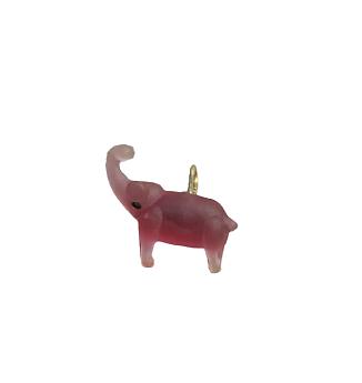Breloque éléphant rose en verre 22x18x9mm