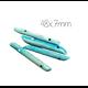 2 séparateurs deux rangs en os teinté turquoise 48x7mm