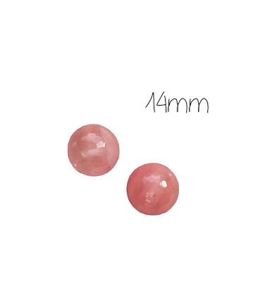 2 grosses perles rondes à facettes en quartz melon 14mm