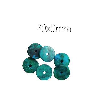 10 rondelles heishi de chrysocolle 10x2mm