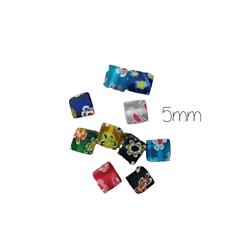 10 perles cube en verre Milleflori 5mm