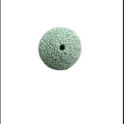 Perle plate bombée en pierre de lave vert tendre 26x12mm