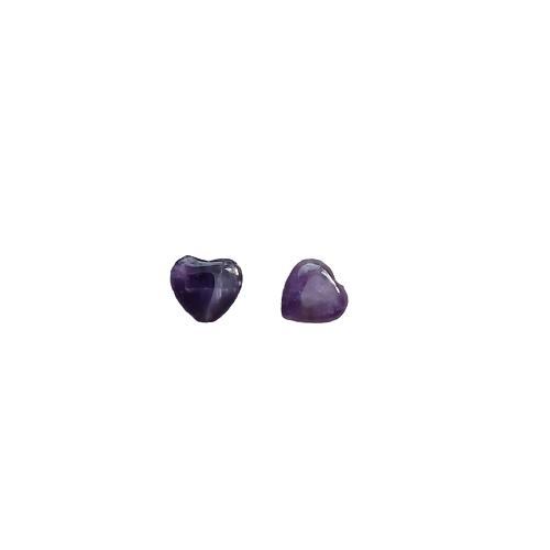 2 perles coeur en améthyste 10x10x4mm