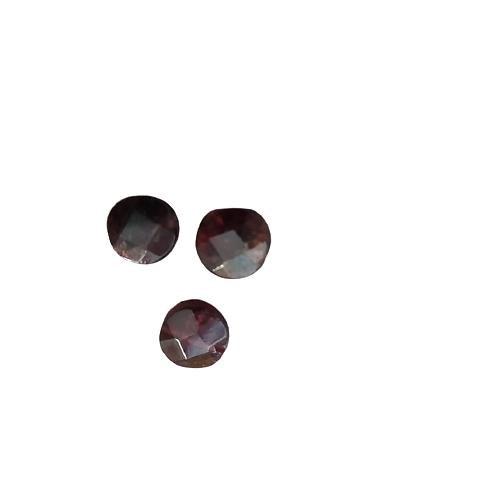2 perles rondes palet à facettes en grenat 10x5mm