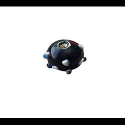 Grosse perle ronde en verre indienne artisanale bleu 21x15mm