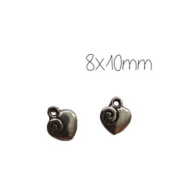 3 mini breloques coeur et spirale en métal argenté 8x10mm