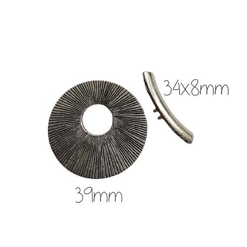 Grand fermoir toggle rond à striures en métal argenté 39mm