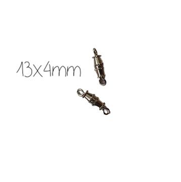 2 fermoirs à visser en métal argenté 13x4mm