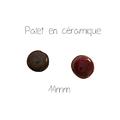 Perle palet rond artisanale en céramique mouchetée verte ou rouge 14mm