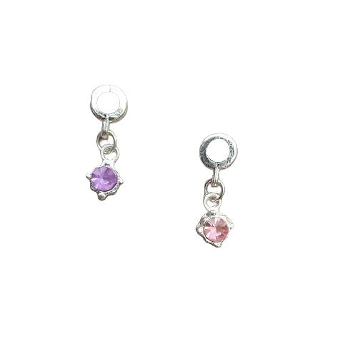 Perle passante Pandora en métal argenté à strass mauve ou rose 24x8mm