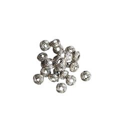20 perles pelote en métal argenté 6x2,5mm