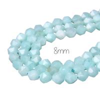5 perles taillées en calcédoine bleu très clair 8mm