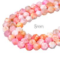 "5 perles taillées en agate veinée ""Dragon"" orange-rose 8mm"