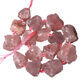 Grosse perle brute en quartz rose fraise 2/3cm