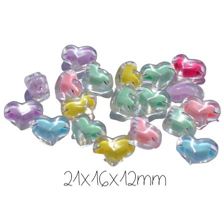 4 perles coeur en acrylique coloré et transparent 21x16x12mm