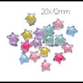 4 perles étoile en acrylique coloré et transparent 21x12mm