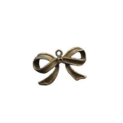 Grande breloque noeud papillon ruban en relief en métal couleur bronze 28,5x17,5mm
