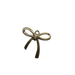 Grande breloque noeud papillon fin en métal couleur bronze 25x23,5mm