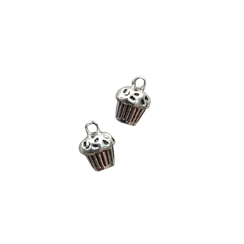 Breloque cupcake en métal argenté massif 13x10x8mm