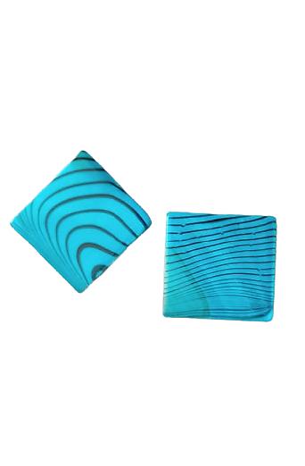 2 perles palet carré de nacre bleue à rayures 20mm