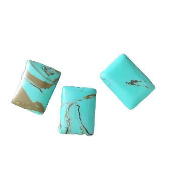 3 perles palets rectangulaires en howlite turquoise et grise 18x13x5mm