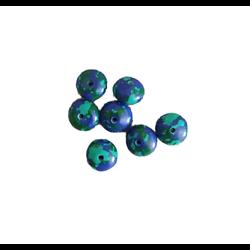 5 perles rondelle en howlite bleu et vert 7,5x5mm