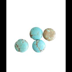 3 perles palets ronds en turquoise bleu et gris 12x5mm