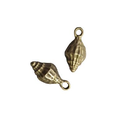 2 breloques coquillage en métal couleur bronze 9x19mm