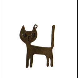 Grande breloque chat moderne en métal couleur bronze 36x45mm