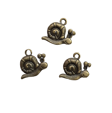 3 breloques escargot en métal couleur bronze 19x16mm