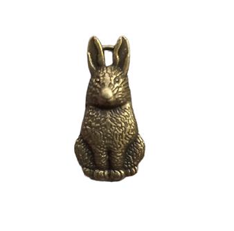 2 breloques lapin / lièvre en métal couleur bronze 26x13mm