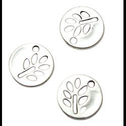 3 breloques rondes médaillon à la feuille en métal argenté 12mm
