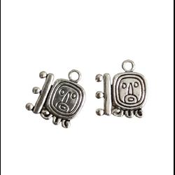 2 breloques glyphe aztèque en métal argenté 16x15mmo