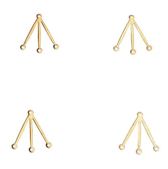 2 connecteurs 3 branches fines en laiton doré 18x20mm
