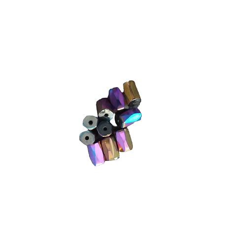 13 perles tubes à facettes en hématite arc-en-ciel 8x5mm