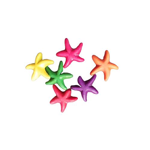 4 perles étoile de mer en howlite de couleur 14mm