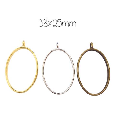 Support ovale pour résine en métal 38x25mm