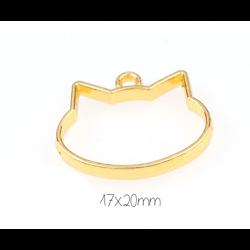 Support de pendentif tête de chat pour résine UV époxy en métal doré 20x17mm