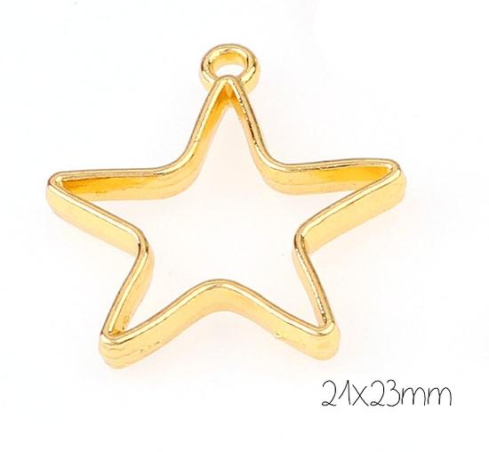 Support de pendentif étoile pour résine UV époxy en métal doré 21x23mm
