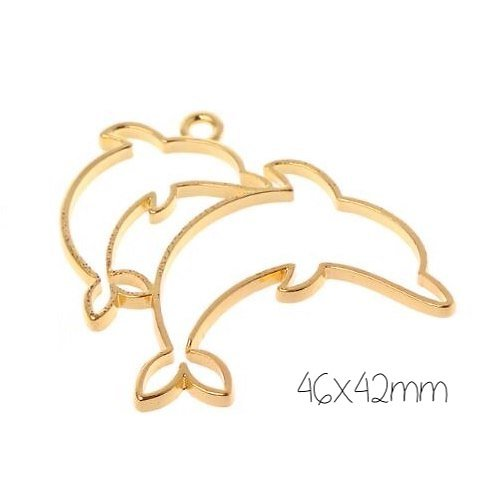 Support de pendentif dauphin pour résine UV époxy en métal doré 46x42mm
