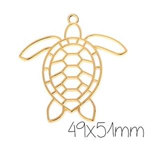 Support de pendentif tortue marine pour résine UV époxy en métal doré 39x41mm