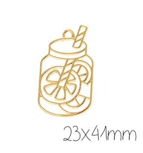 Support de pendentif verre d'orangeade pour résine UV époxy en métal doré 23x41mm