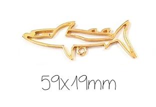 Support de pendentif requin pour résine UV époxy en métal doré 59x19mm