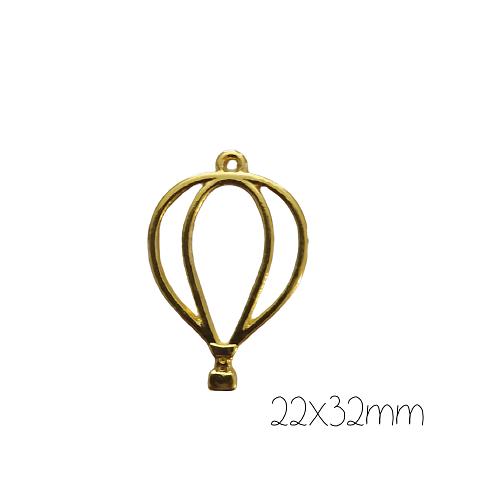 Support de pendentif montgolfière pour résine UV époxy en métal doré 22x32mm
