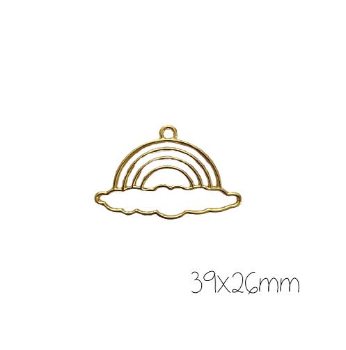 Support de pendentif arc-en-ciel grand nuage pour résine UV époxy en métal doré 39x26mm