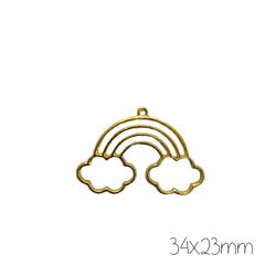 Support de pendentif arc-en-ciel petits nuages pour résine UV époxy en métal doré 34x23mm