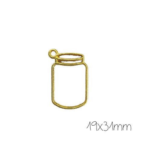 Support de pendentif bocal pour résine UV époxy en métal doré 19x31mm