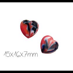 5 perles coeur en verre de Murano bleu/blanc/rouge 15x16x7mm